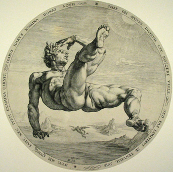 Icarus: an engraving by Hendrick Goltzius depicts Icarus' reckless flight toward the sun, and his fatal fall when the heat loosed the beeswax that held his feathers.